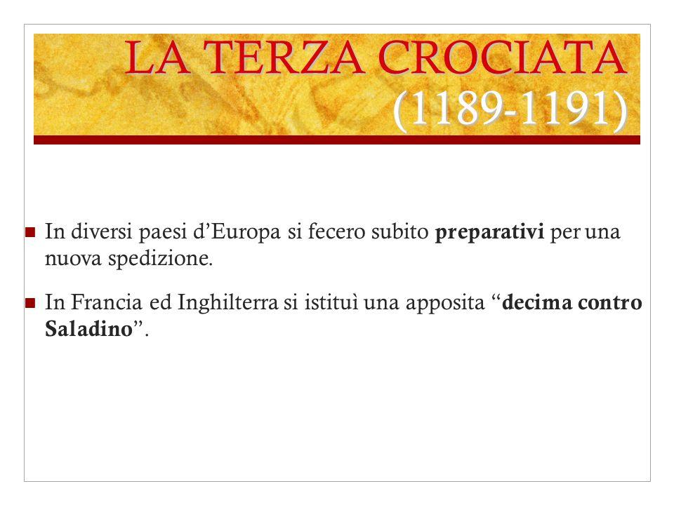 LA TERZA CROCIATA (1189-1191) In diversi paesi d'Europa si fecero subito preparativi per una nuova spedizione.