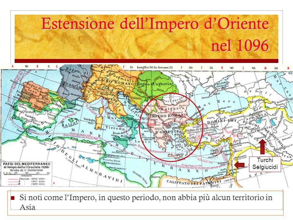 Estensione dell'Impero d'Oriente nel 1096