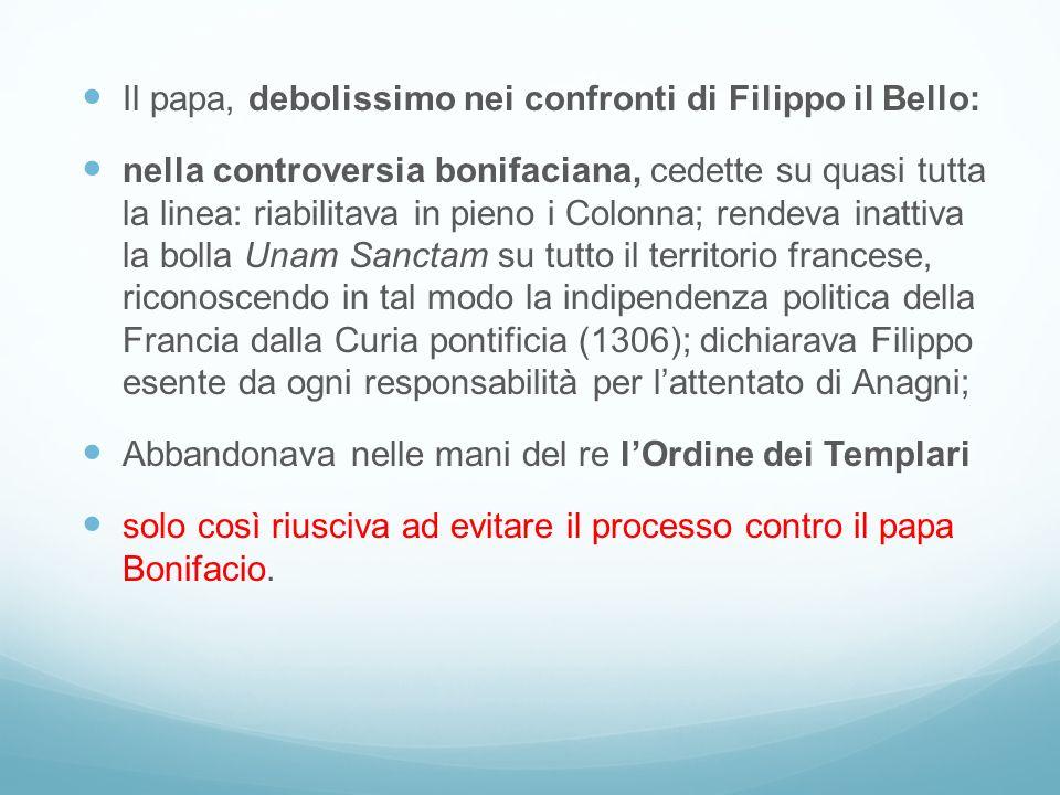 Il papa, debolissimo nei confronti di Filippo il Bello: