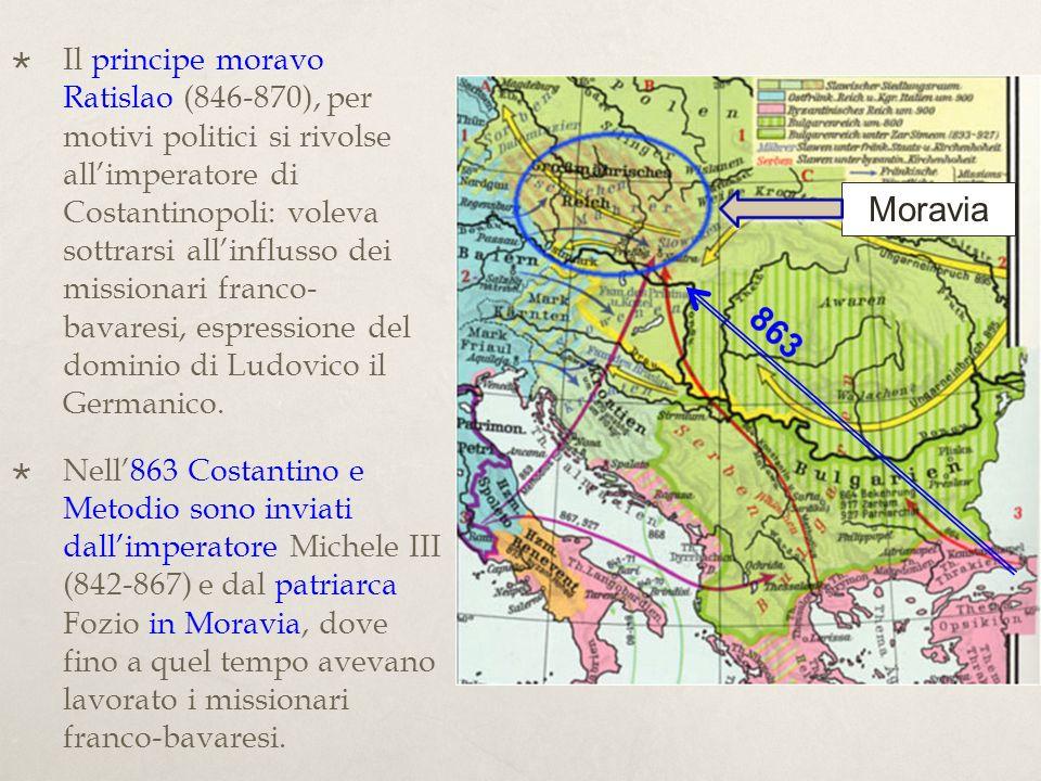 Il principe moravo Ratislao (846-870), per motivi politici si rivolse all'imperatore di Costantinopoli: voleva sottrarsi all'influsso dei missionari franco- bavaresi, espressione del dominio di Ludovico il Germanico.
