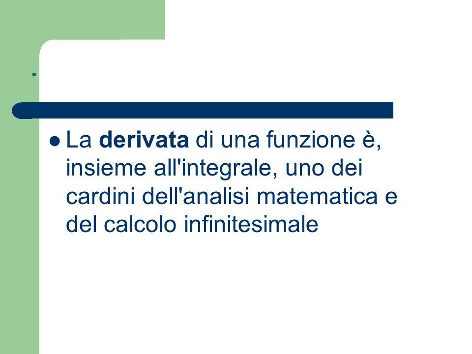 . La derivata di una funzione è, insieme all integrale, uno dei cardini dell analisi matematica e del calcolo infinitesimale.