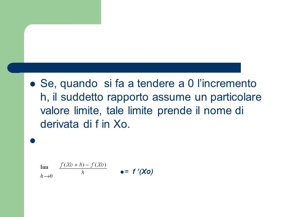 Se, quando si fa a tendere a 0 l'incremento h, il suddetto rapporto assume un particolare valore limite, tale limite prende il nome di derivata di f in Xo.