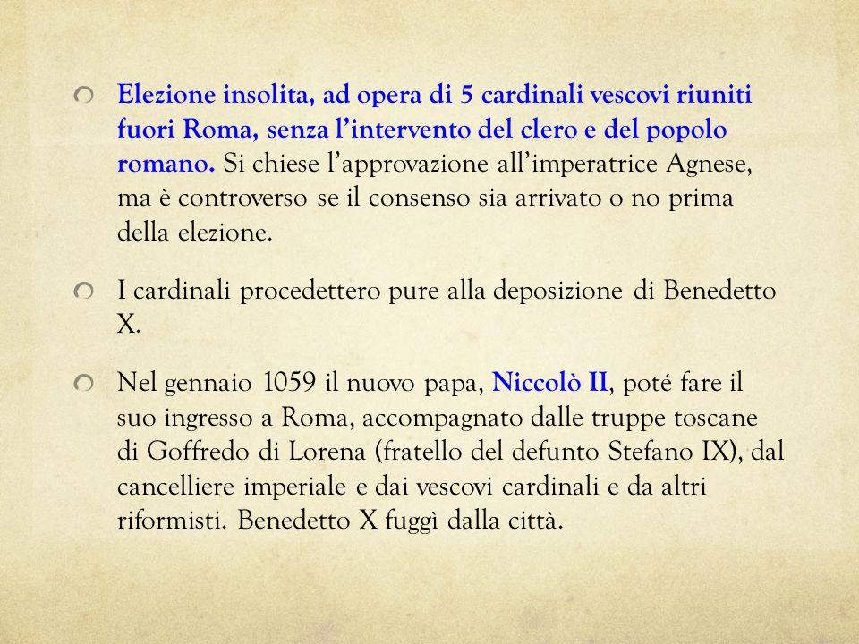 Elezione insolita, ad opera di 5 cardinali vescovi riuniti fuori Roma, senza l'intervento del clero e del popolo romano. Si chiese l'approvazione all'imperatrice Agnese, ma è controverso se il consenso sia arrivato o no prima della elezione.