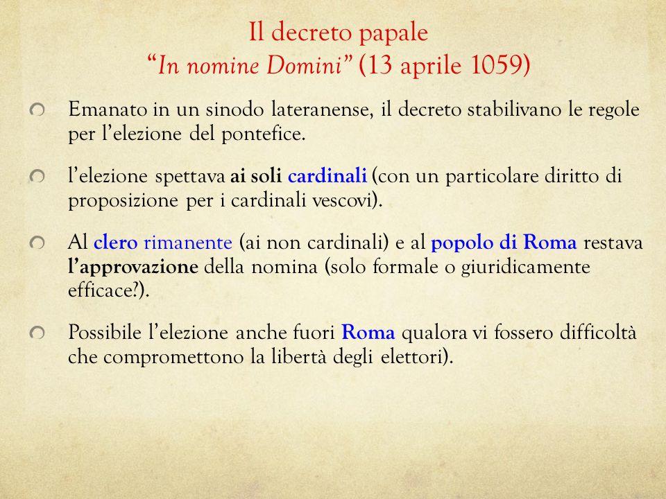 Il decreto papale In nomine Domini (13 aprile 1059)