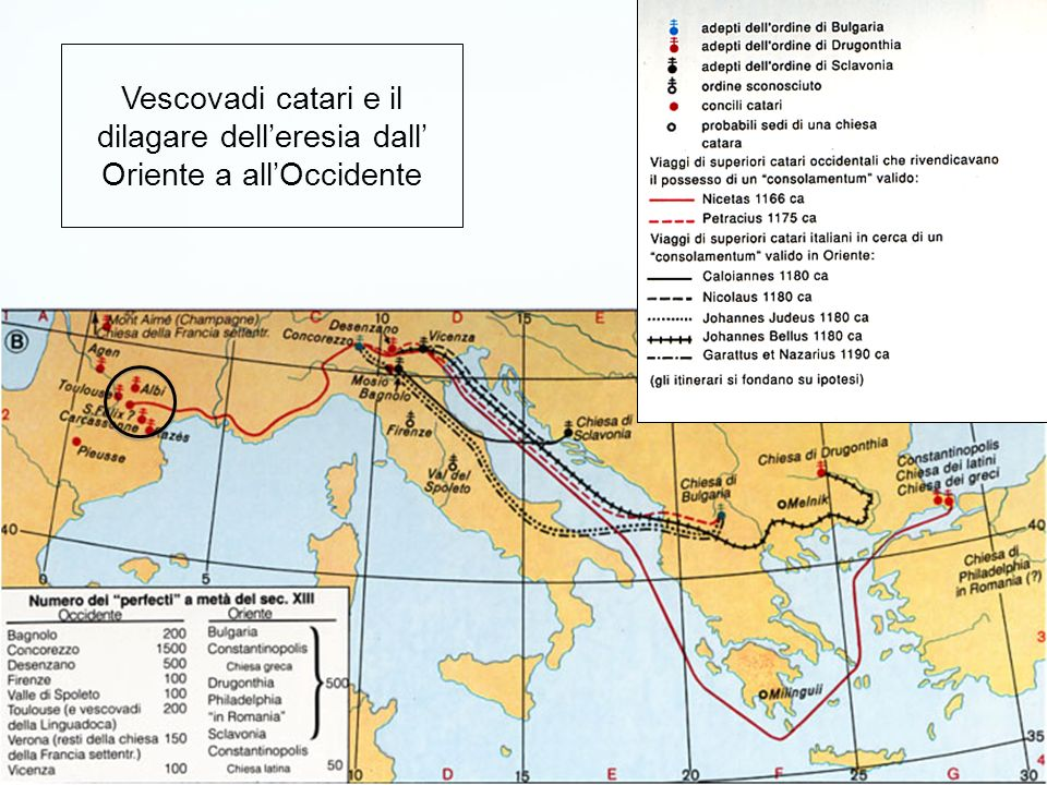 Vescovadi catari e il dilagare dell'eresia dall' Oriente a all'Occidente