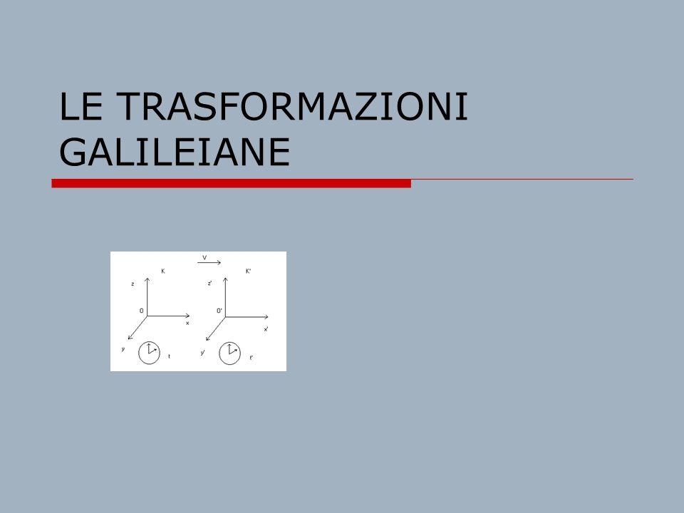 LE TRASFORMAZIONI GALILEIANE