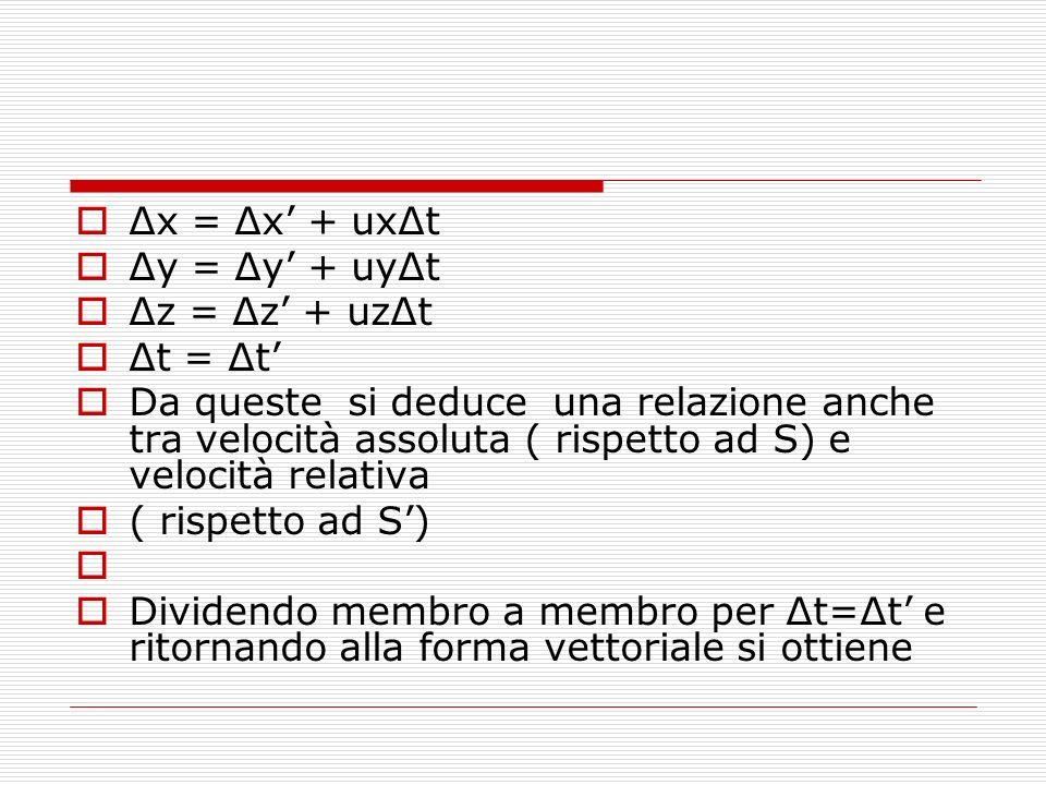 Δx = Δx' + uxΔt Δy = Δy' + uyΔt. Δz = Δz' + uzΔt. Δt = Δt'