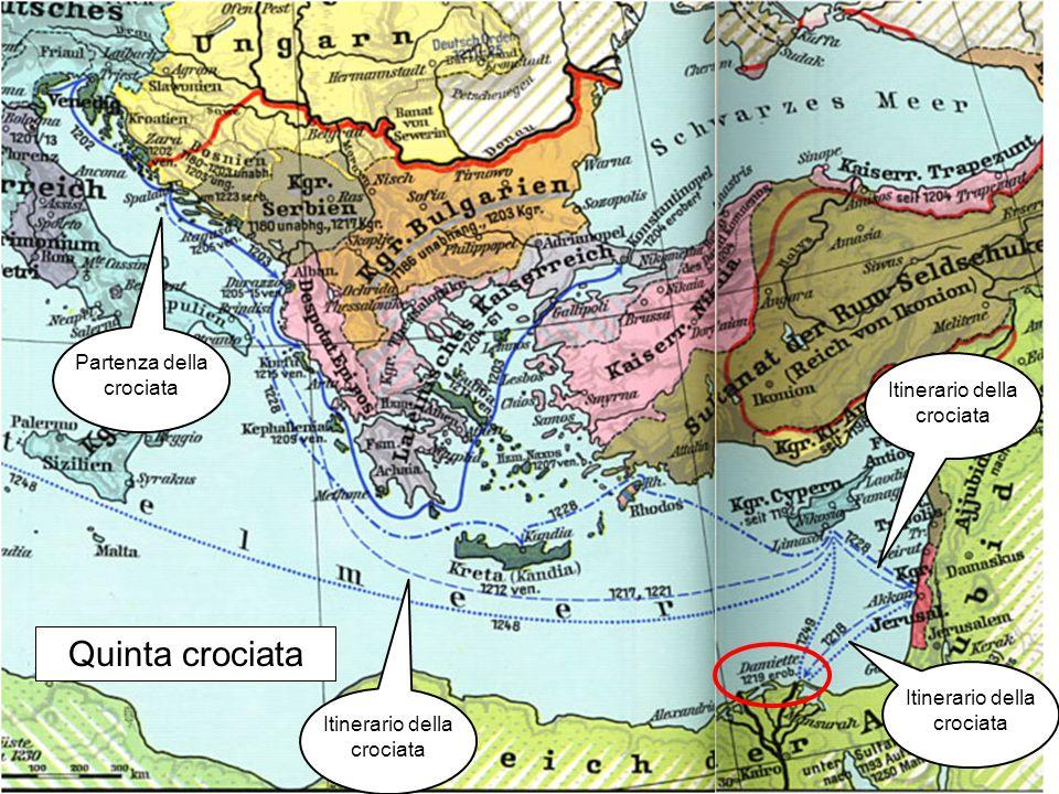 Quinta crociata Partenza della crociata Itinerario della crociata