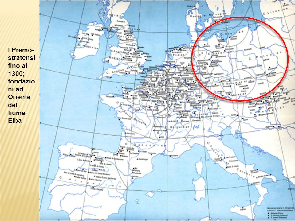 I Premo-stratensi fino al 1300; fondazioni ad Oriente del fiume Elba