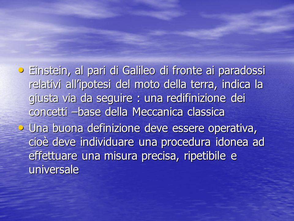 Einstein, al pari di Galileo di fronte ai paradossi relativi all'ipotesi del moto della terra, indica la giusta via da seguire : una redifinizione dei concetti –base della Meccanica classica