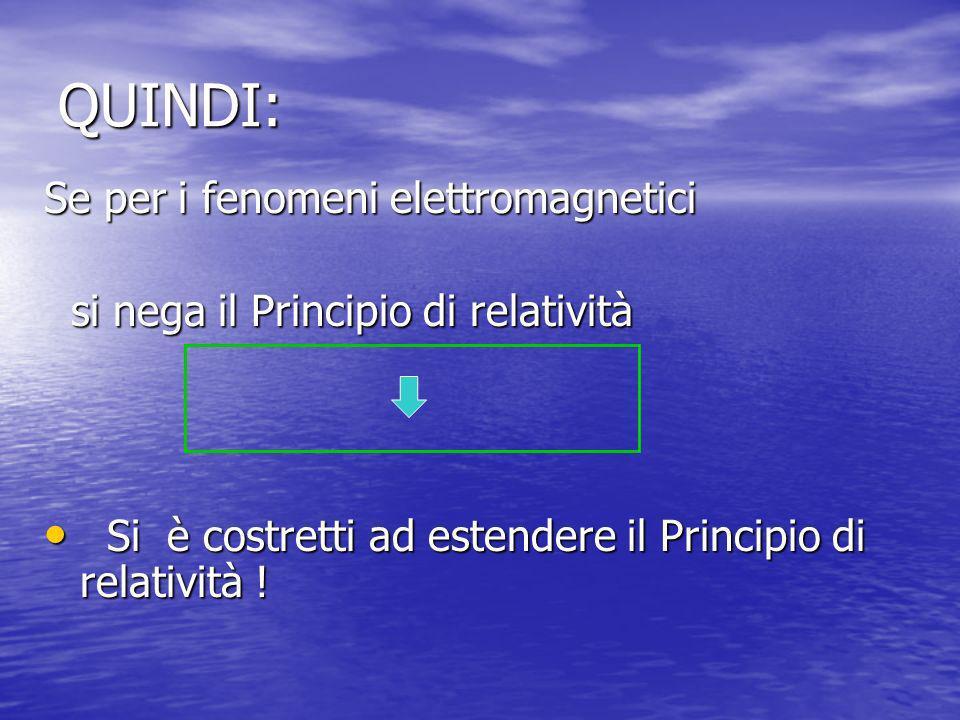 QUINDI: Se per i fenomeni elettromagnetici
