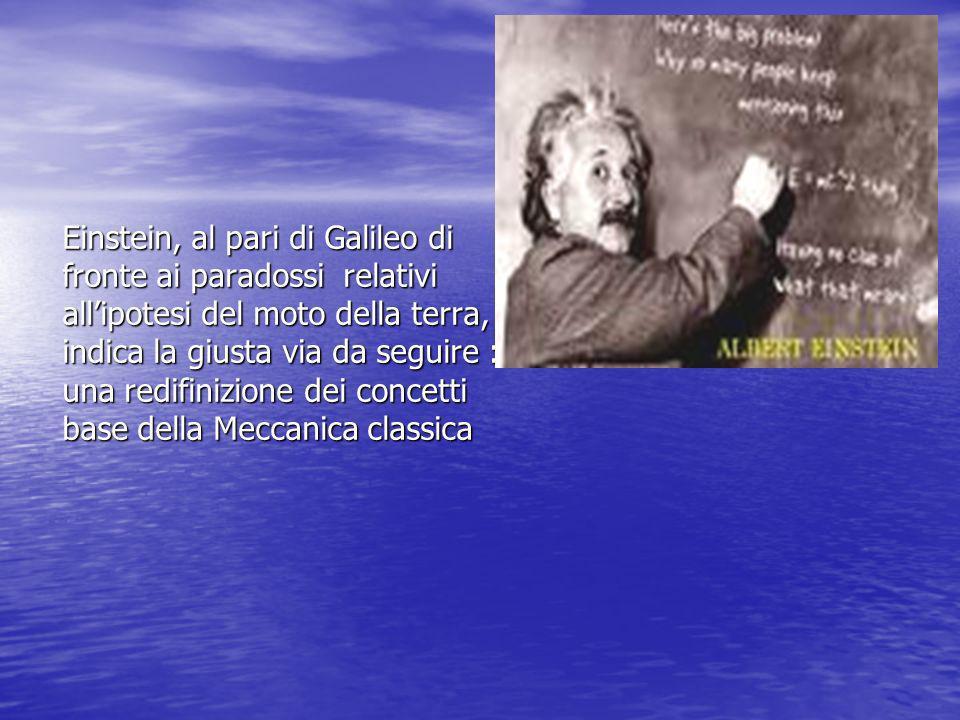 Einstein, al pari di Galileo di fronte ai paradossi relativi all'ipotesi del moto della terra, indica la giusta via da seguire : una redifinizione dei concetti base della Meccanica classica