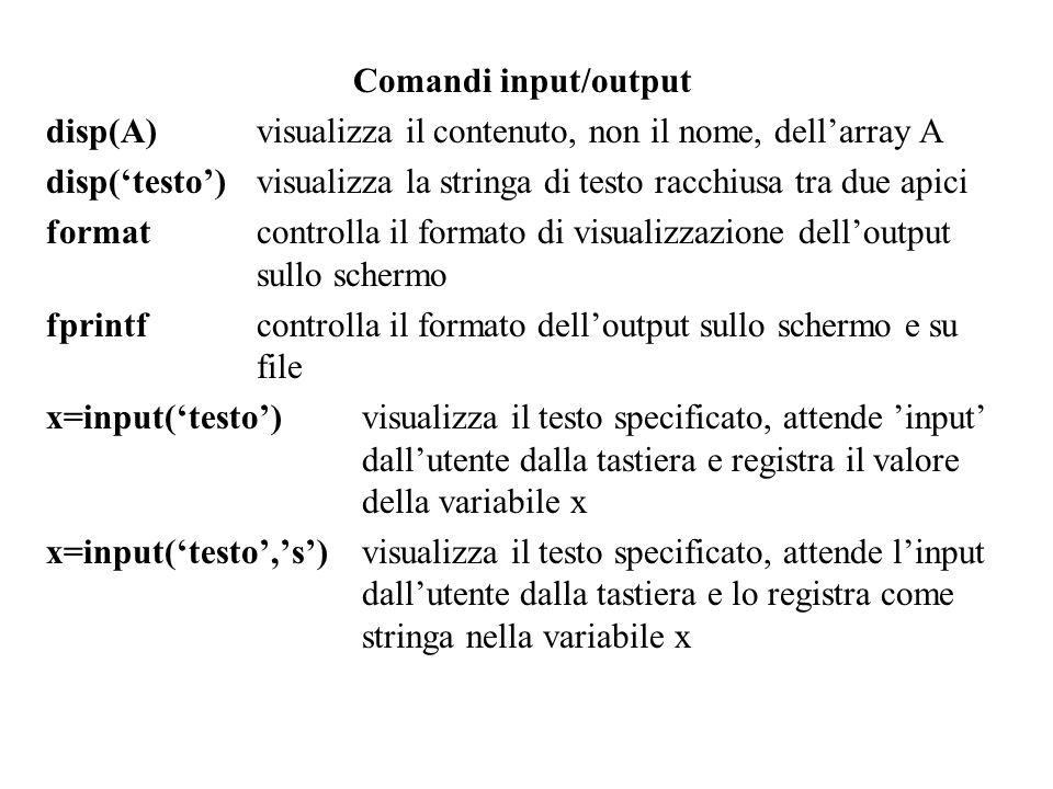 Comandi input/output disp(A) visualizza il contenuto, non il nome, dell'array A.