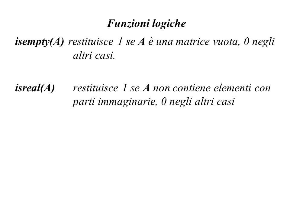 Funzioni logiche isempty(A) restituisce 1 se A è una matrice vuota, 0 negli altri casi.