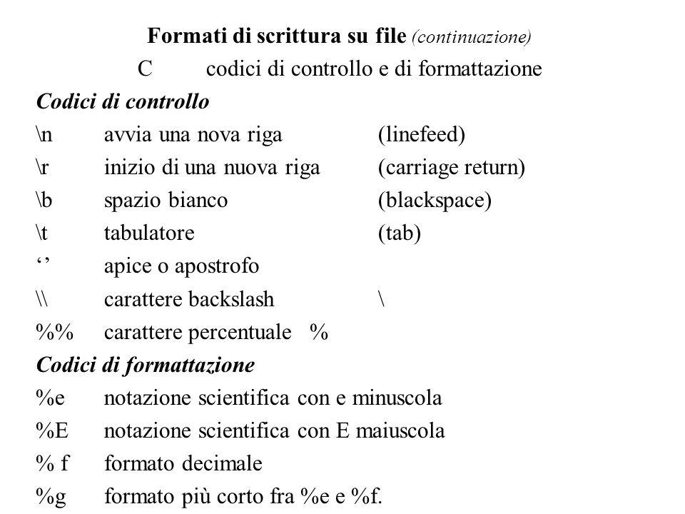 Formati di scrittura su file (continuazione)