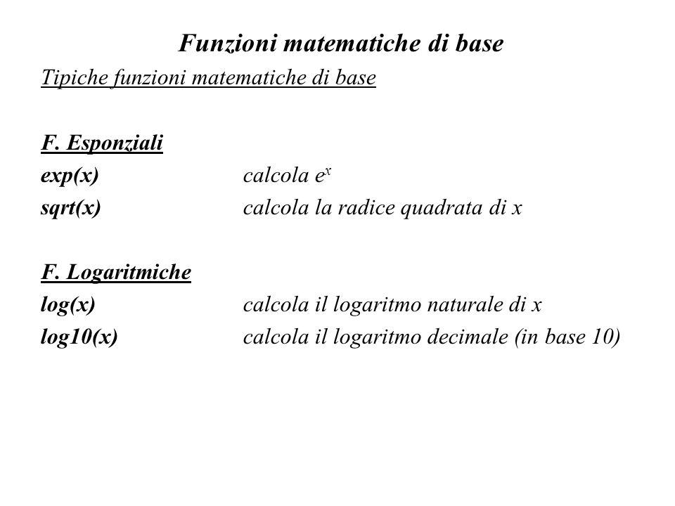 Funzioni matematiche di base