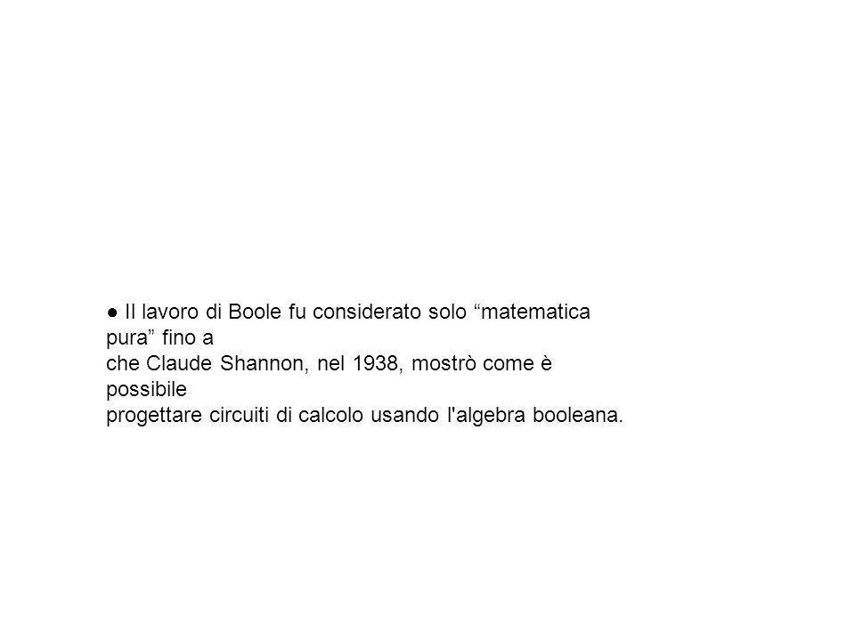 ● Il lavoro di Boole fu considerato solo matematica pura fino a