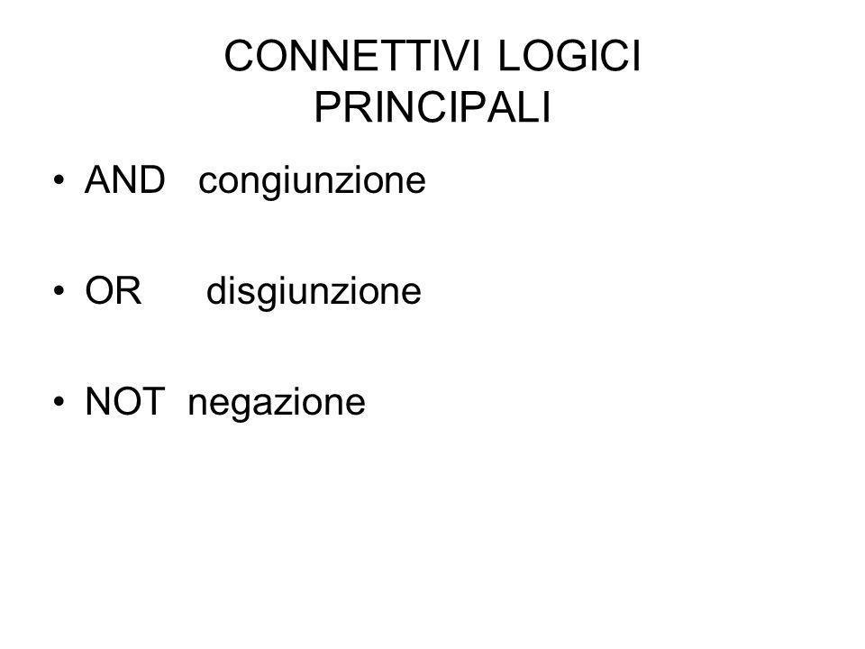 CONNETTIVI LOGICI PRINCIPALI