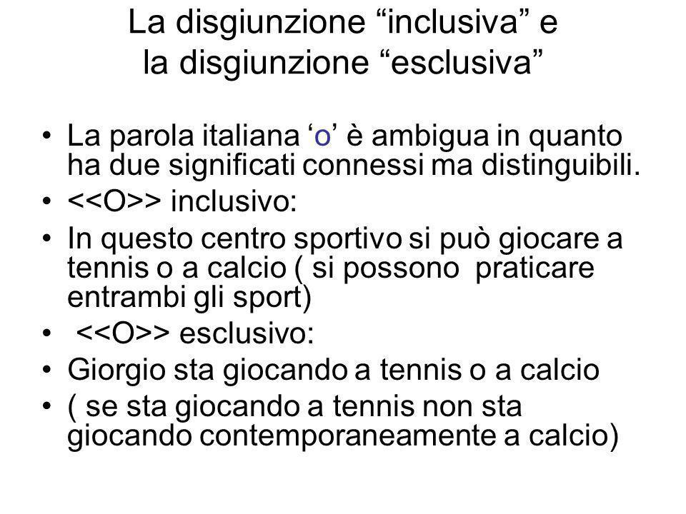 La disgiunzione inclusiva e la disgiunzione esclusiva