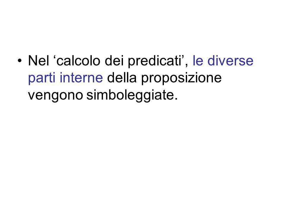Nel 'calcolo dei predicati', le diverse parti interne della proposizione vengono simboleggiate.