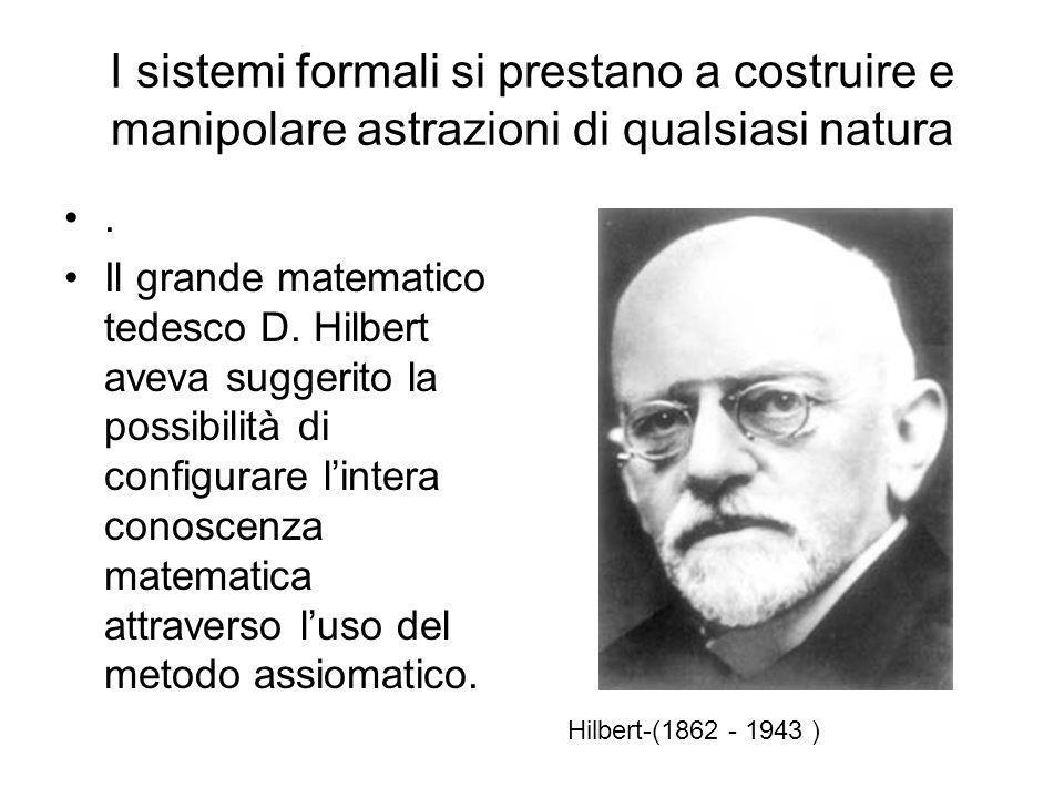 I sistemi formali si prestano a costruire e manipolare astrazioni di qualsiasi natura