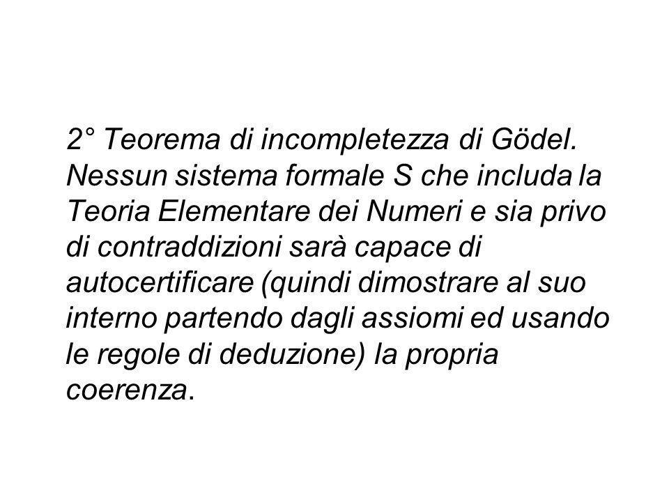 2° Teorema di incompletezza di Gödel