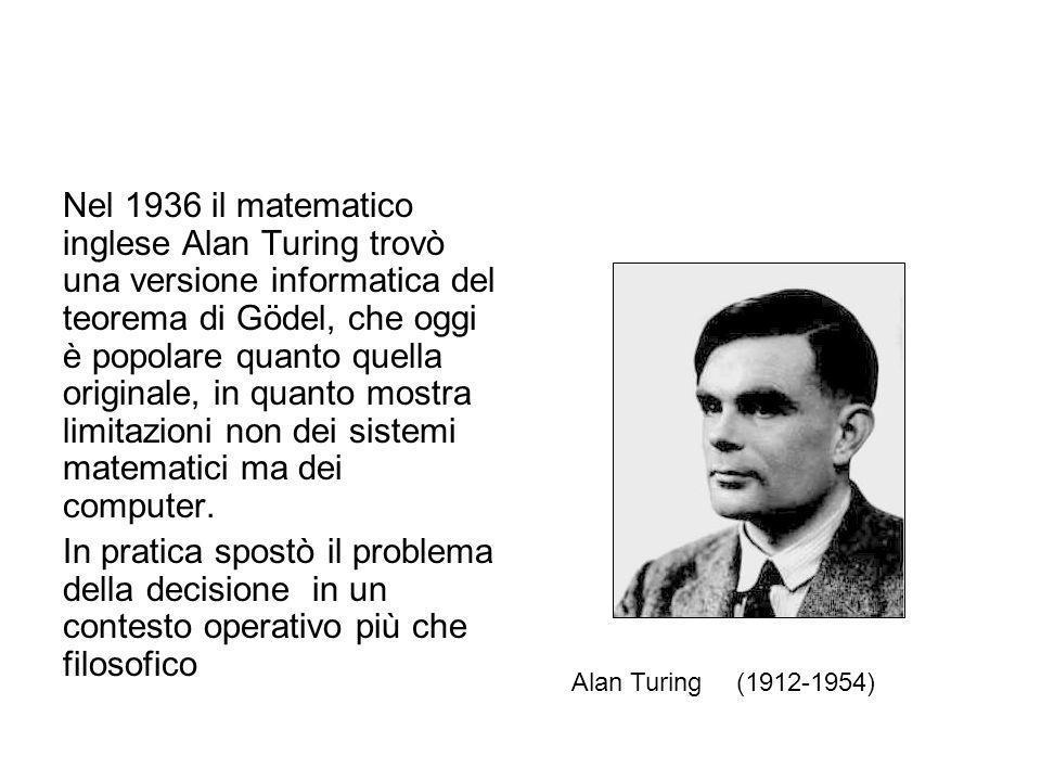 Nel 1936 il matematico inglese Alan Turing trovò una versione informatica del teorema di Gödel, che oggi è popolare quanto quella originale, in quanto mostra limitazioni non dei sistemi matematici ma dei computer.