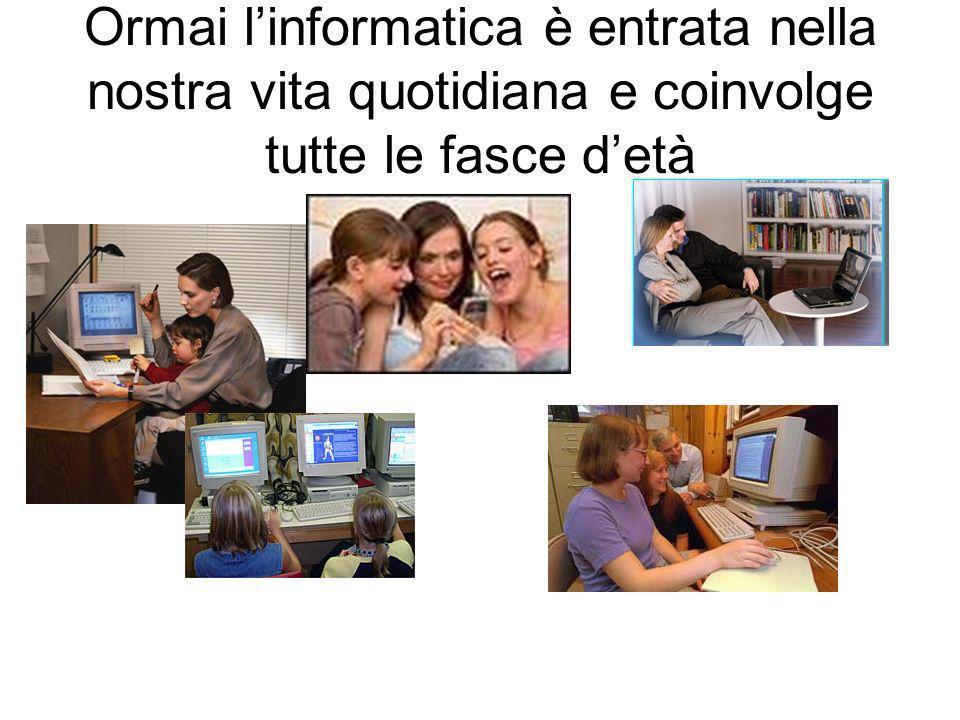 Ormai l'informatica è entrata nella nostra vita quotidiana e coinvolge tutte le fasce d'età