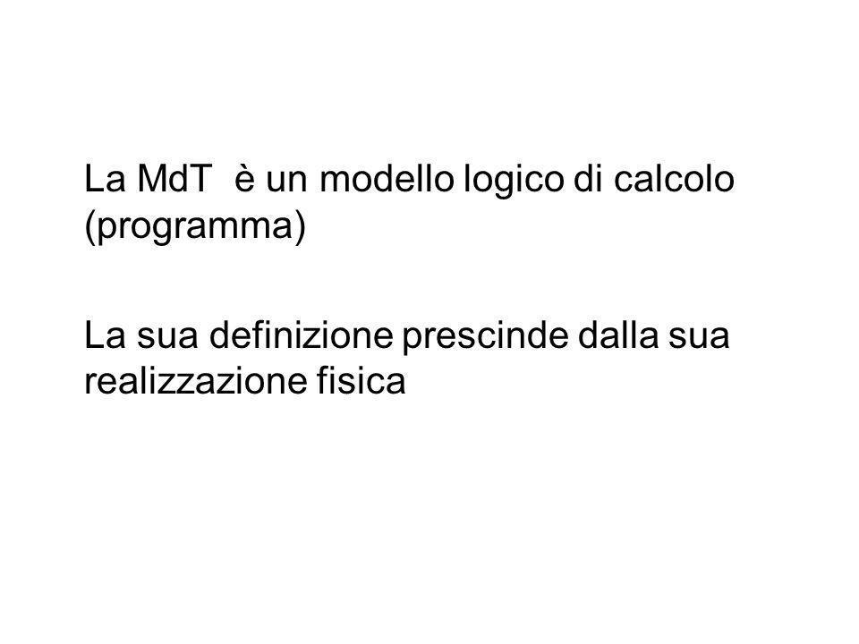 La MdT è un modello logico di calcolo (programma)