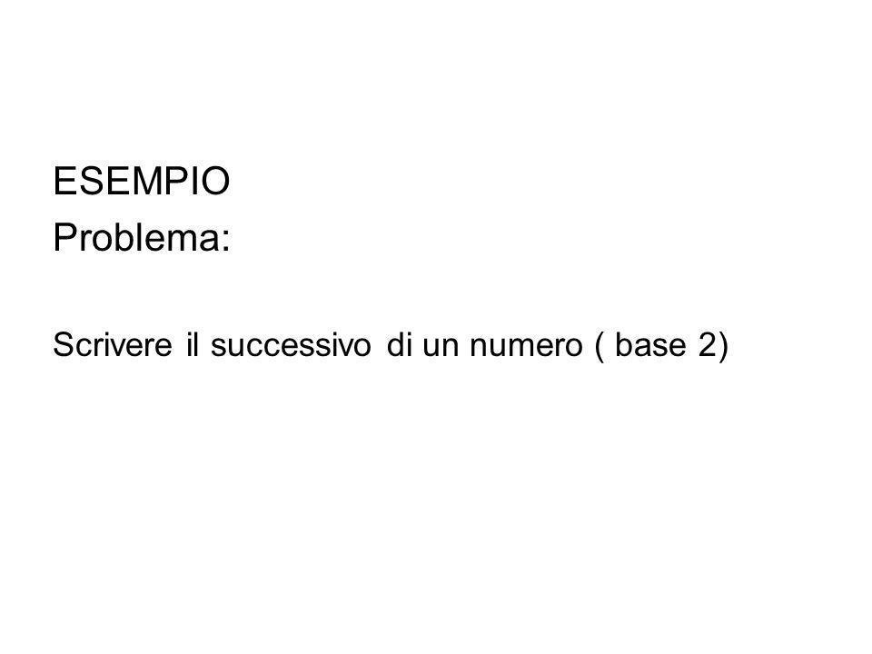 ESEMPIO Problema: Scrivere il successivo di un numero ( base 2)