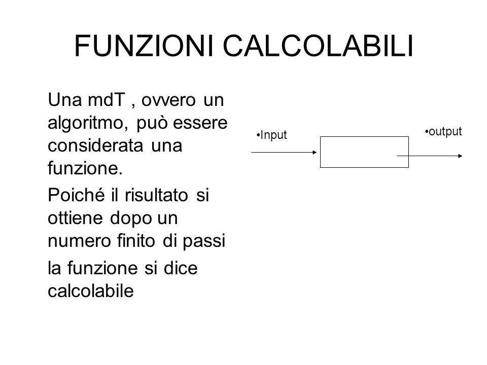 FUNZIONI CALCOLABILI Una mdT , ovvero un algoritmo, può essere considerata una funzione.