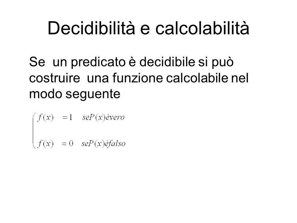 Decidibilità e calcolabilità