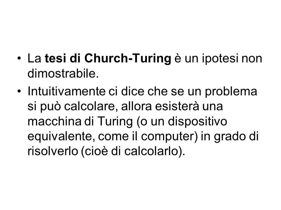 La tesi di Church-Turing è un ipotesi non dimostrabile.