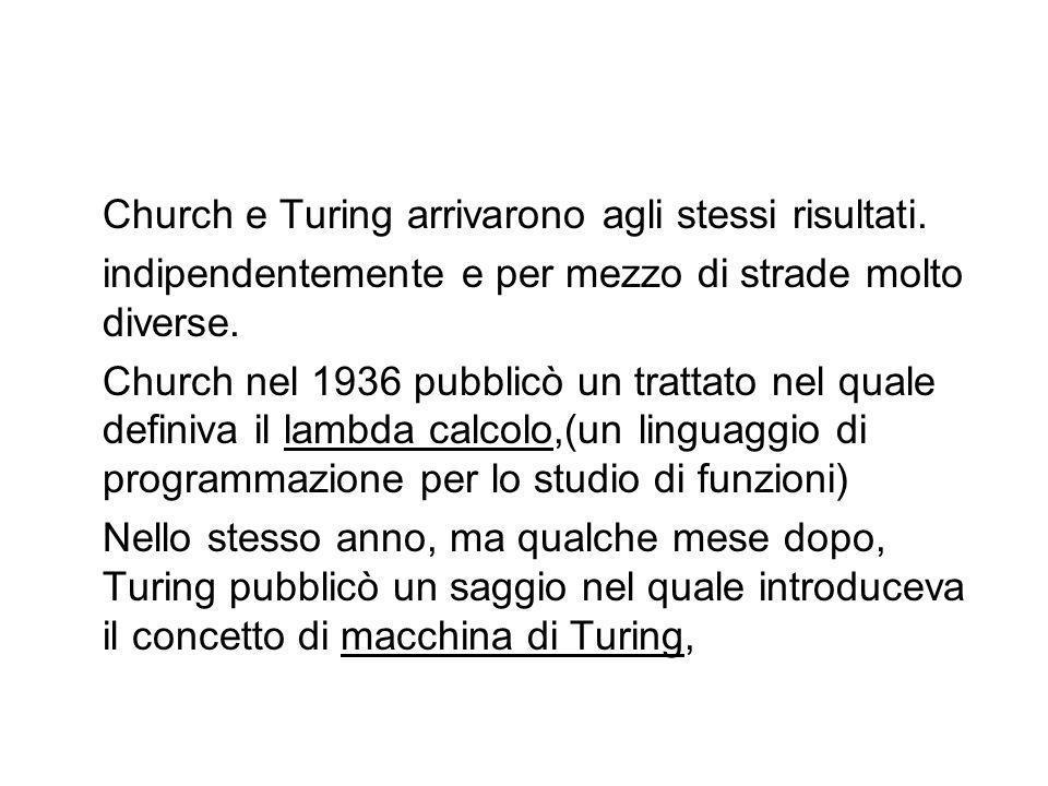 Church e Turing arrivarono agli stessi risultati.