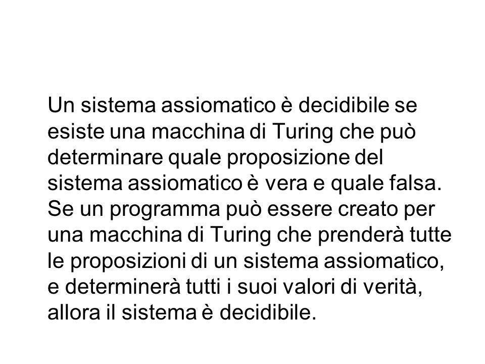Un sistema assiomatico è decidibile se esiste una macchina di Turing che può determinare quale proposizione del sistema assiomatico è vera e quale falsa.
