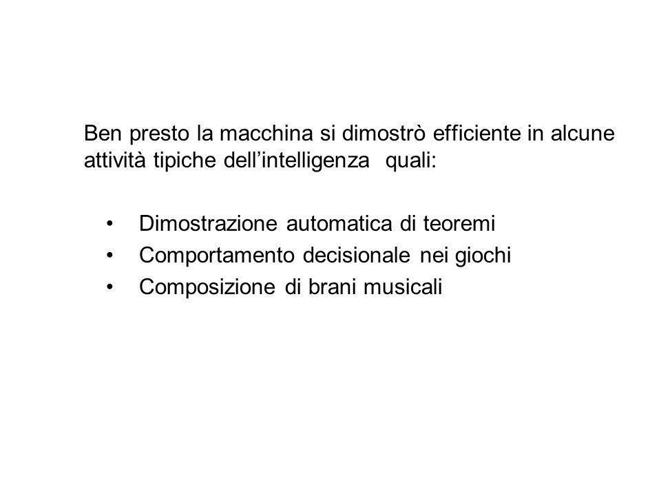 Ben presto la macchina si dimostrò efficiente in alcune attività tipiche dell'intelligenza quali: