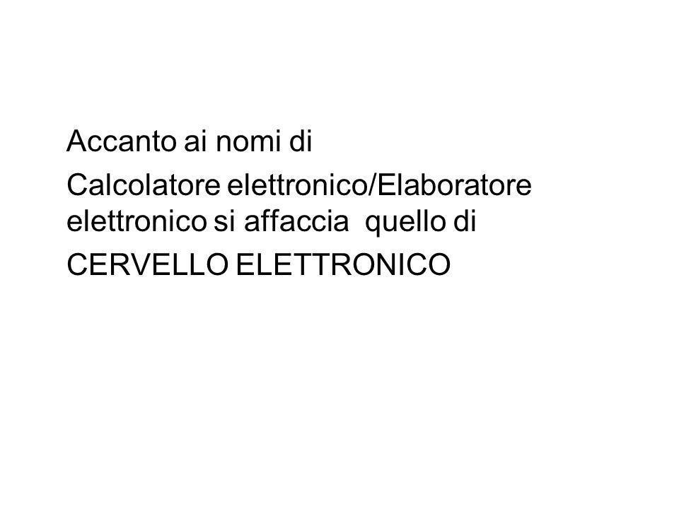 Accanto ai nomi di Calcolatore elettronico/Elaboratore elettronico si affaccia quello di.