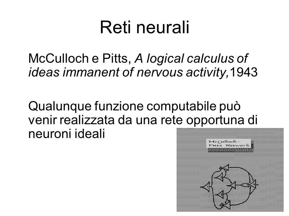 Reti neuraliMcCulloch e Pitts, A logical calculus of ideas immanent of nervous activity,1943.