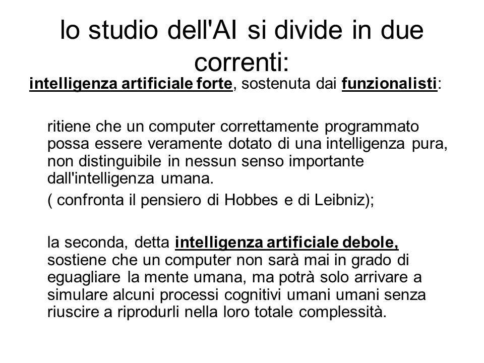 lo studio dell AI si divide in due correnti:
