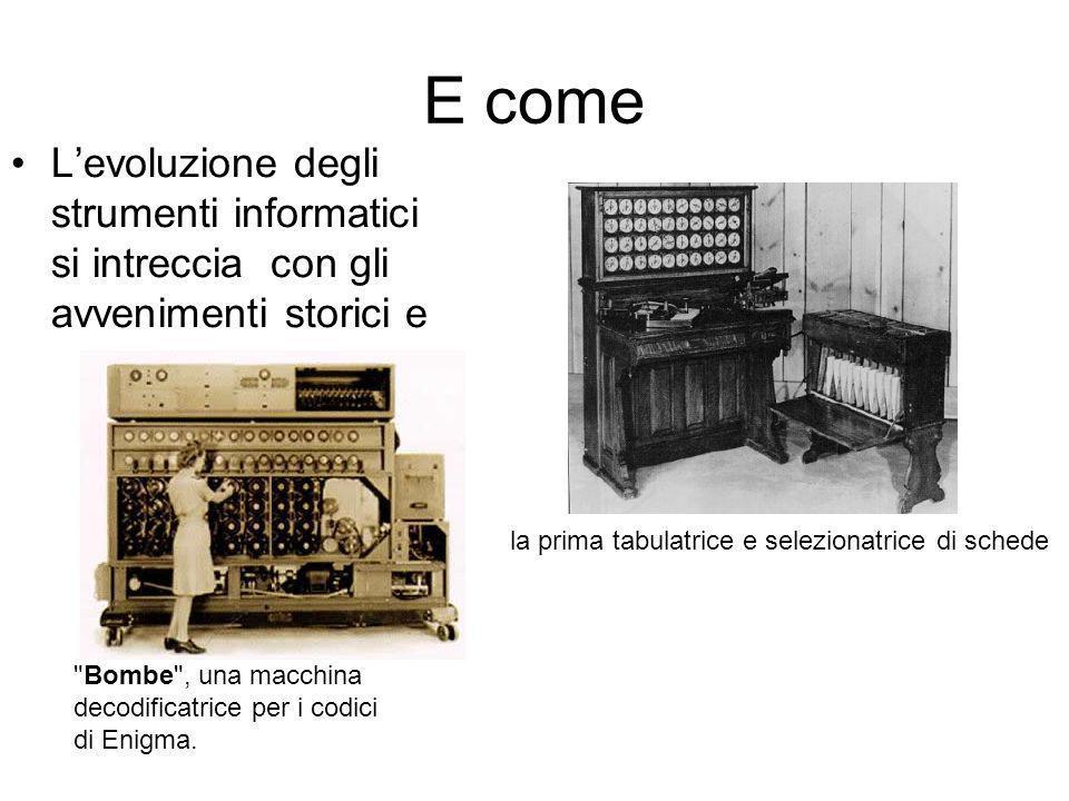 E come L'evoluzione degli strumenti informatici si intreccia con gli avvenimenti storici e. la prima tabulatrice e selezionatrice di schede.