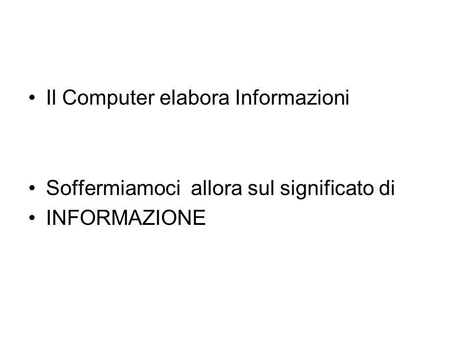Il Computer elabora Informazioni