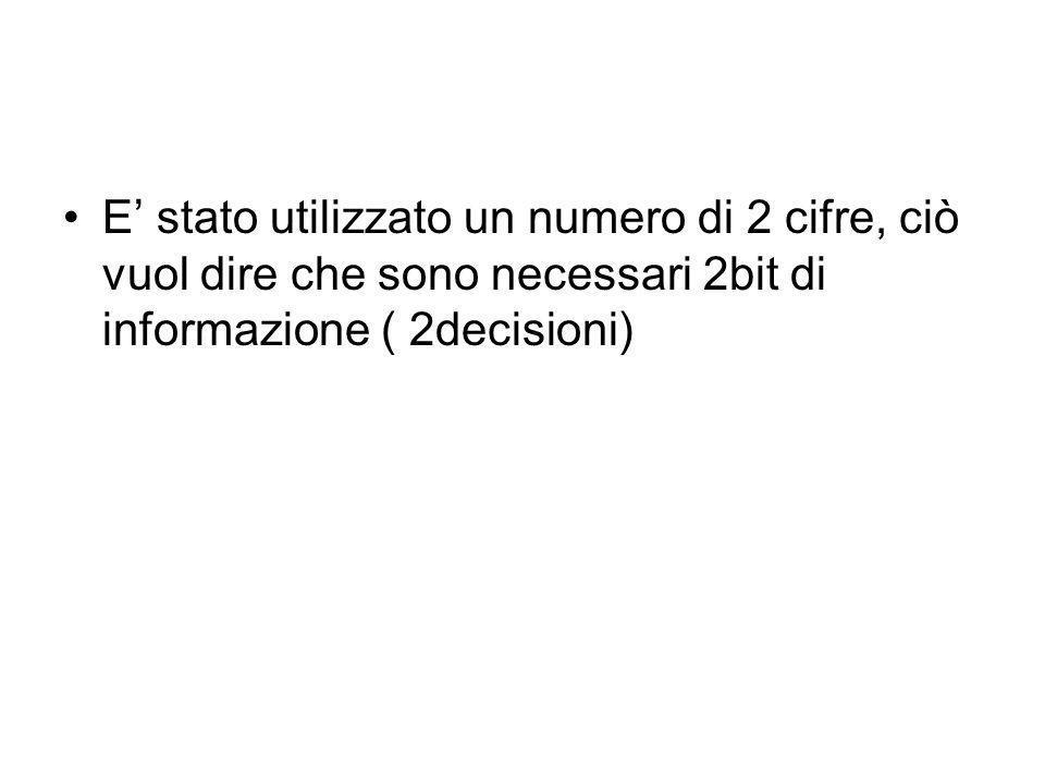 E' stato utilizzato un numero di 2 cifre, ciò vuol dire che sono necessari 2bit di informazione ( 2decisioni)