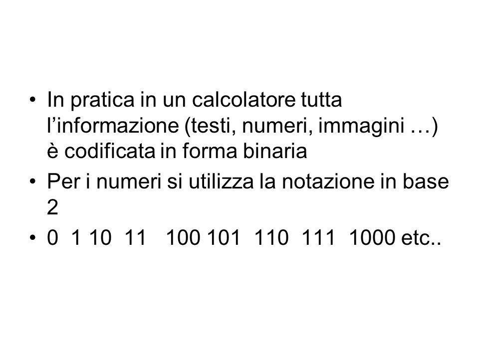In pratica in un calcolatore tutta l'informazione (testi, numeri, immagini …) è codificata in forma binaria