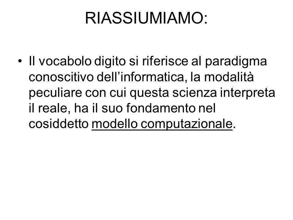 RIASSIUMIAMO:
