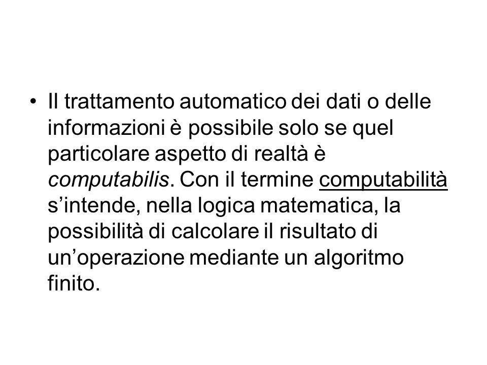 Il trattamento automatico dei dati o delle informazioni è possibile solo se quel particolare aspetto di realtà è computabilis.