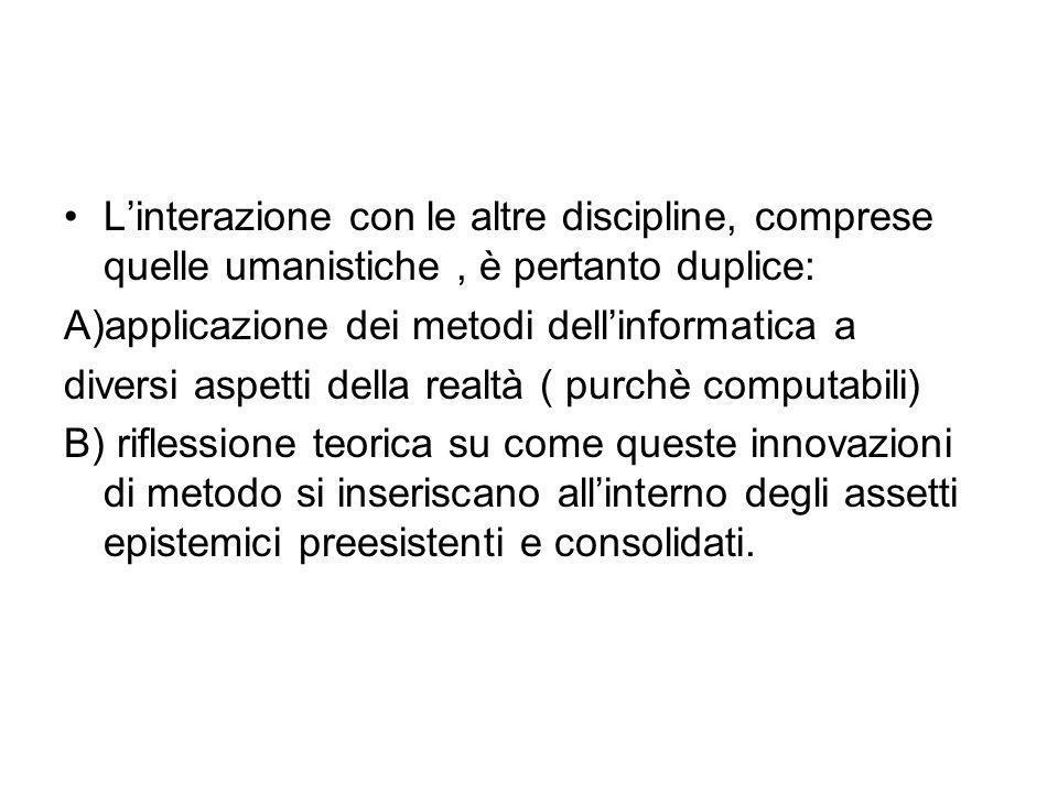 L'interazione con le altre discipline, comprese quelle umanistiche , è pertanto duplice: