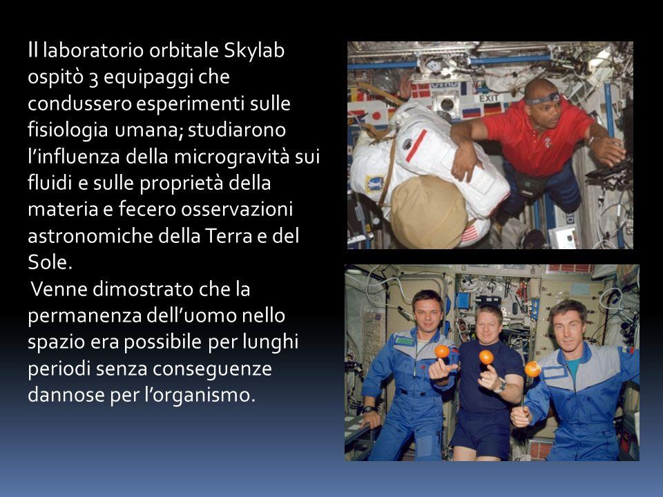 Il laboratorio orbitale Skylab ospitò 3 equipaggi che condussero esperimenti sulle fisiologia umana; studiarono