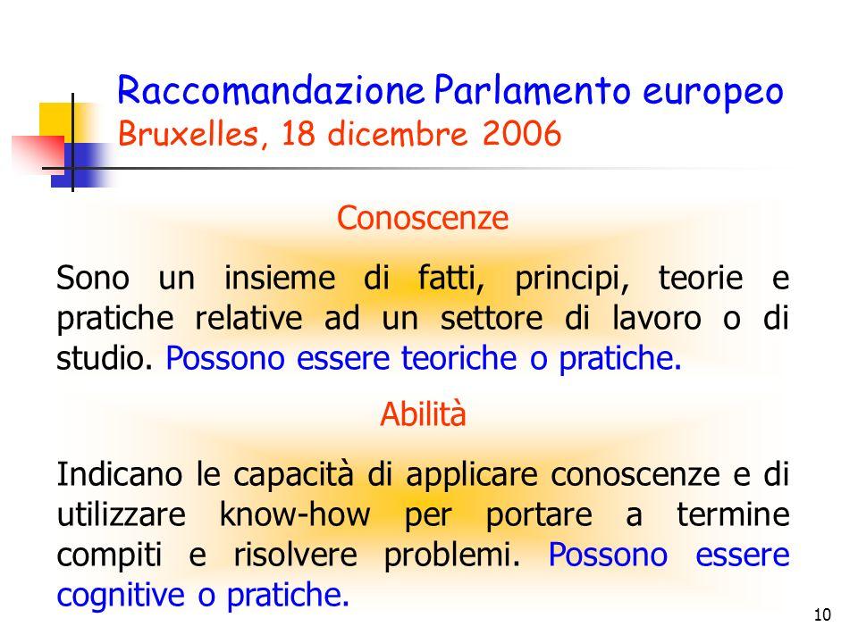Raccomandazione Parlamento europeo Bruxelles, 18 dicembre 2006