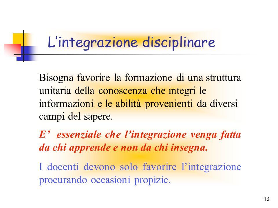 L'integrazione disciplinare