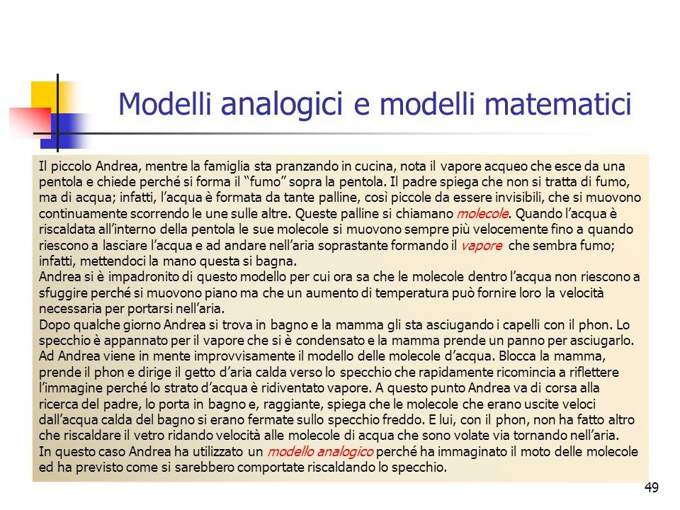 Modelli analogici e modelli matematici